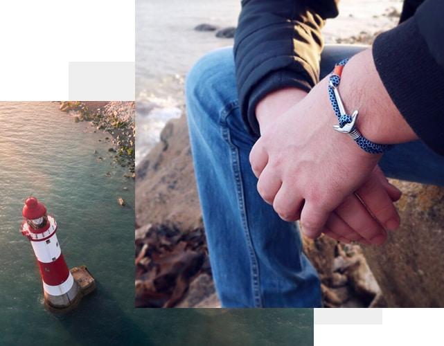 Bracelet breton avec ancre marine